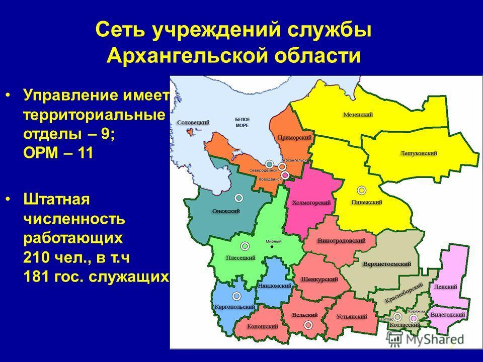 Сеть учреждений службы Архангельской области Управление имеет территориальные отделы – 9; ОРМ – 11 Штатная численность работающих 210 чел., в т.ч 181 гос. служащих 2
