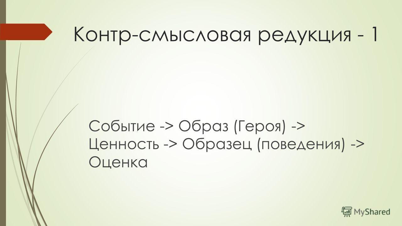 Контр-смысловая редукция - 1 Событие -> Образ (Героя) -> Ценность -> Образец (поведения) -> Оценка