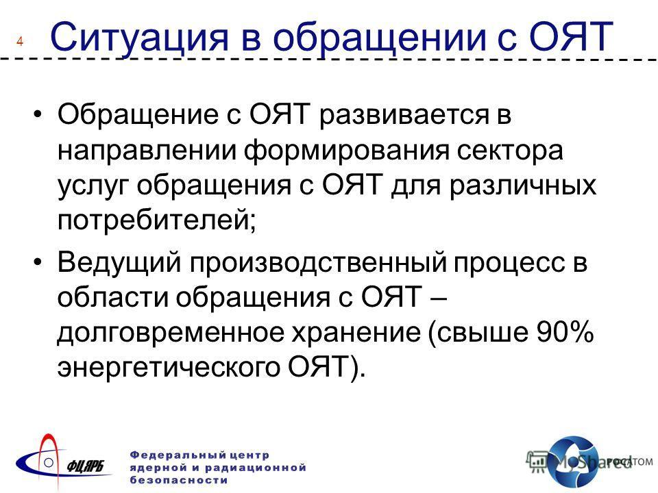 4 Ситуация в обращении с ОЯТ Обращение с ОЯТ развивается в направлении формирования сектора услуг обращения с ОЯТ для различных потребителей; Ведущий производственный процесс в области обращения с ОЯТ – долговременное хранение (свыше 90% энергетическ