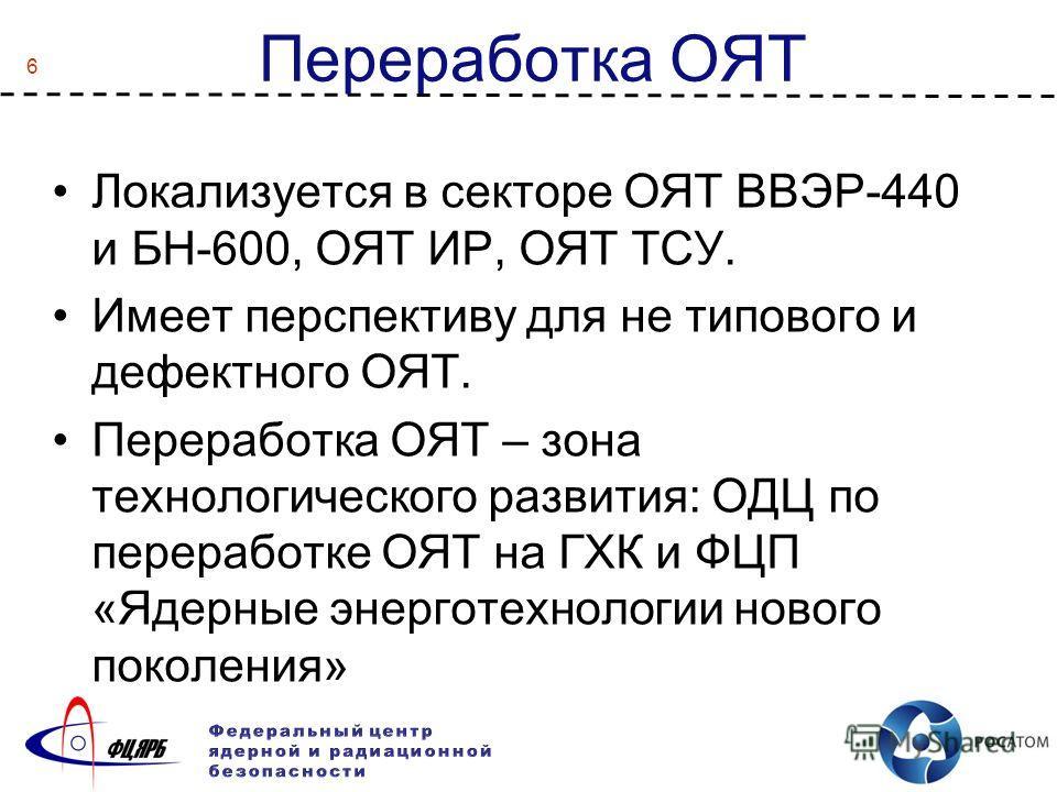 6 Переработка ОЯТ Локализуется в секторе ОЯТ ВВЭР-440 и БН-600, ОЯТ ИР, ОЯТ ТСУ. Имеет перспективу для не типового и дефектного ОЯТ. Переработка ОЯТ – зона технологического развития: ОДЦ по переработке ОЯТ на ГХК и ФЦП «Ядерные энерготехнологии новог