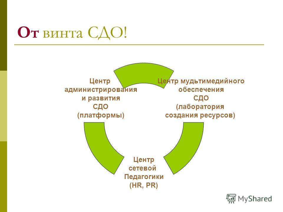 От винта СДО! Центр мудьтимедийного обеспечения СДО (лаборатория создания ресурсов) Центр сетевой Педагогики (HR, PR) Центр администрирования и развития СДО (платформы)