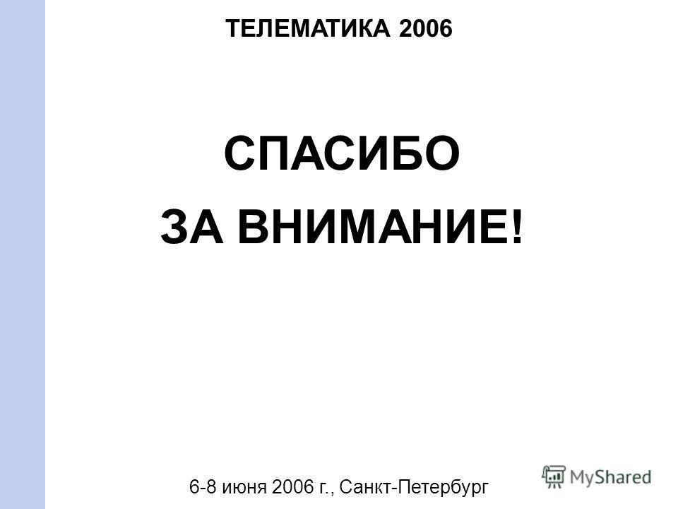 СПАСИБО ЗА ВНИМАНИЕ! ТЕЛЕМАТИКА 2006 6-8 июня 2006 г., Санкт-Петербург