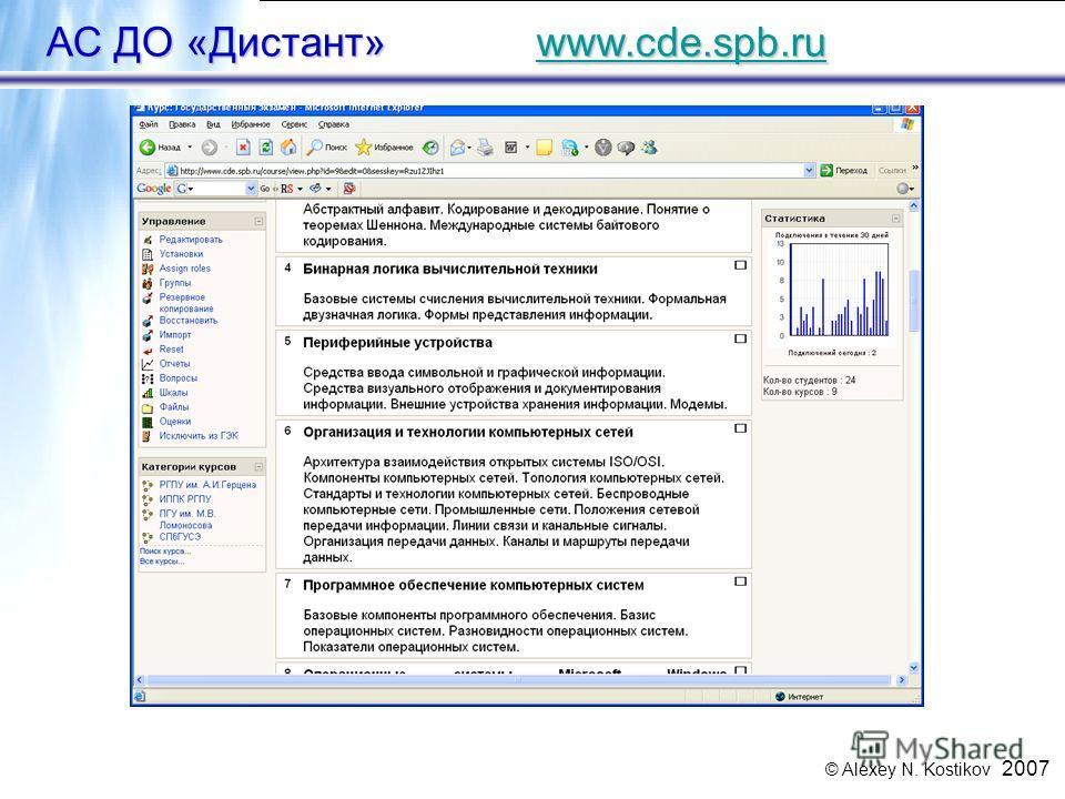 © Alexey N. Kostikov 2007 27 АС ДО «Дистант» www.cde.spb.ru www.cde.spb.ru