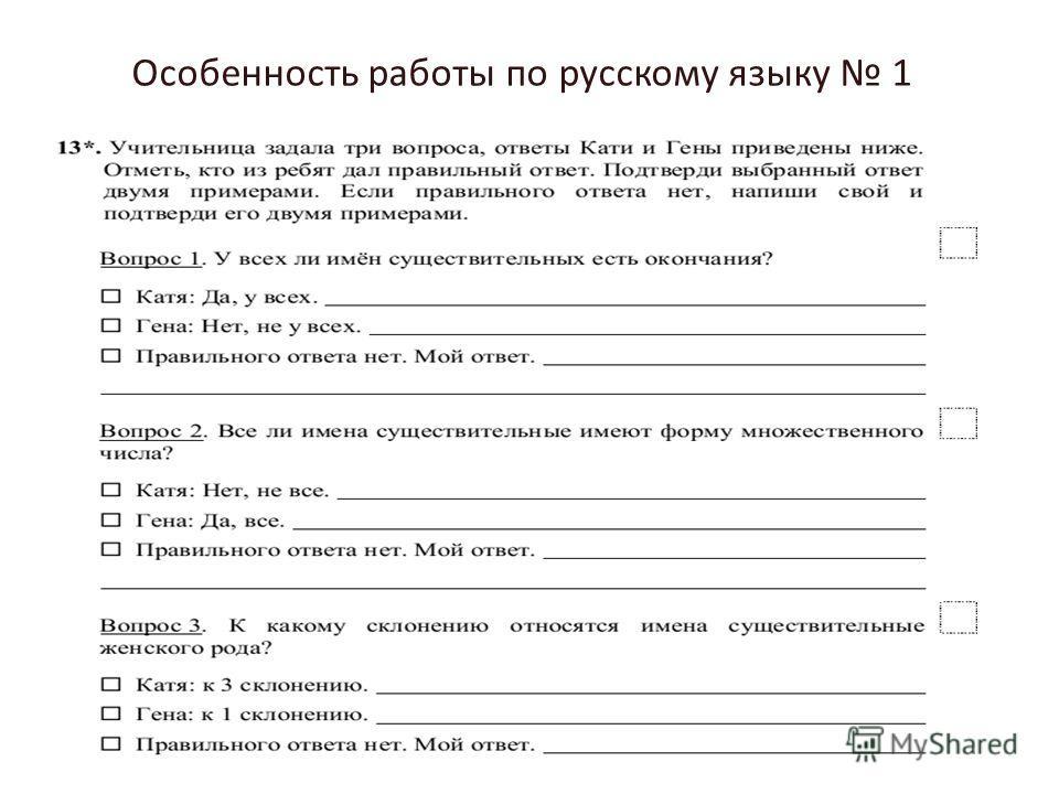 Особенность работы по русскому языку 1