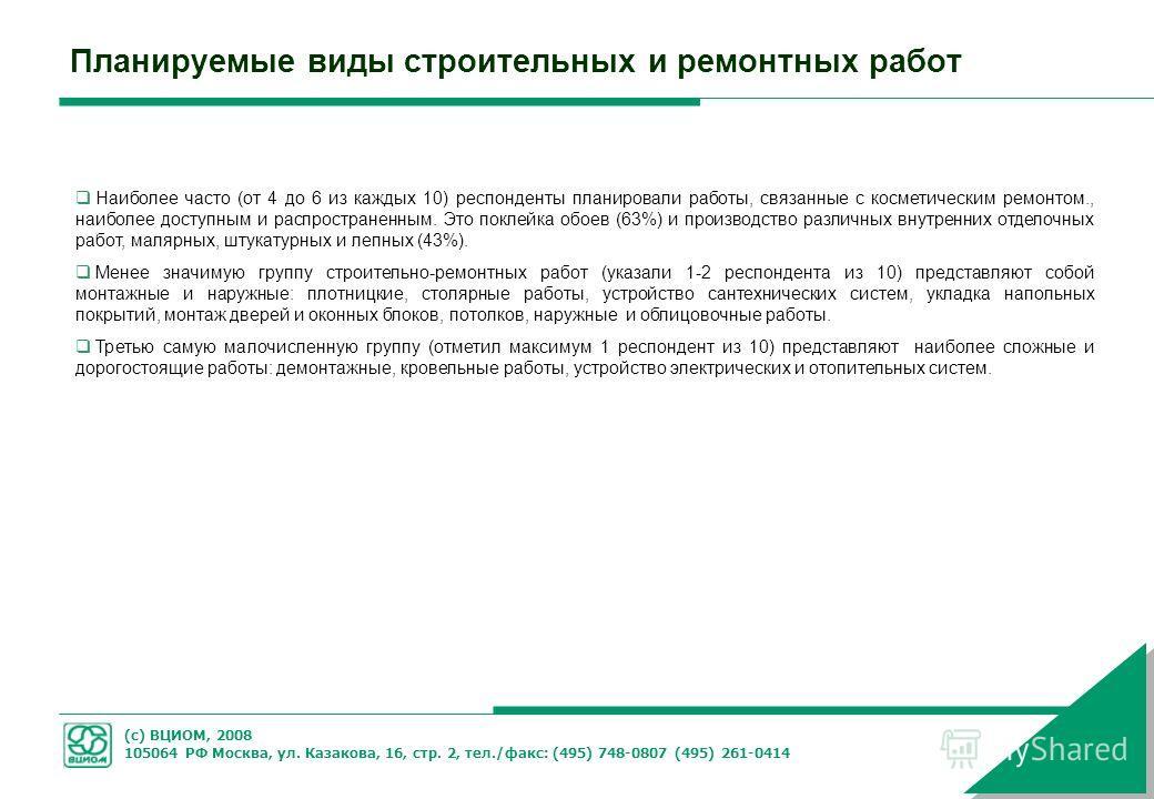 (с) ВЦИОМ, 2008 105064 РФ Москва, ул. Казакова, 16, стр. 2, тел./факс: (495) 748-0807 (495) 261-0414 Планируемые виды строительных и ремонтных работ Наиболее часто (от 4 до 6 из каждых 10) респонденты планировали работы, связанные с косметическим рем