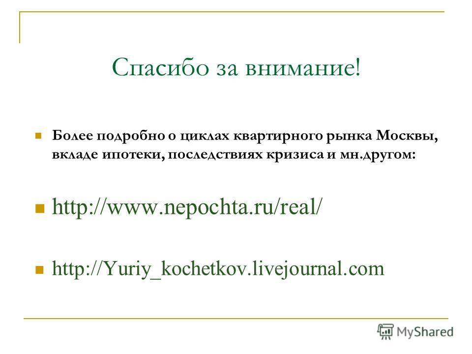 Спасибо за внимание! Более подробно о циклах квартирного рынка Москвы, вкладе ипотеки, последствиях кризиса и мн.другом: http://www.nepochta.ru/real/ http://Yuriy_kochetkov.livejournal.com