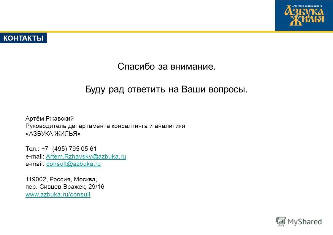 Спасибо за внимание. Буду рад ответить на Ваши вопросы. Артём Ржавский Руководитель департамента консалтинга и аналитики «АЗБУКА ЖИЛЬЯ» Тел.: +7 (495) 795 05 61 e-mail: Artem.Rzhavsky@azbuka.ruArtem.Rzhavsky@azbuka.ru e-mail: consult@azbuka.ruconsult