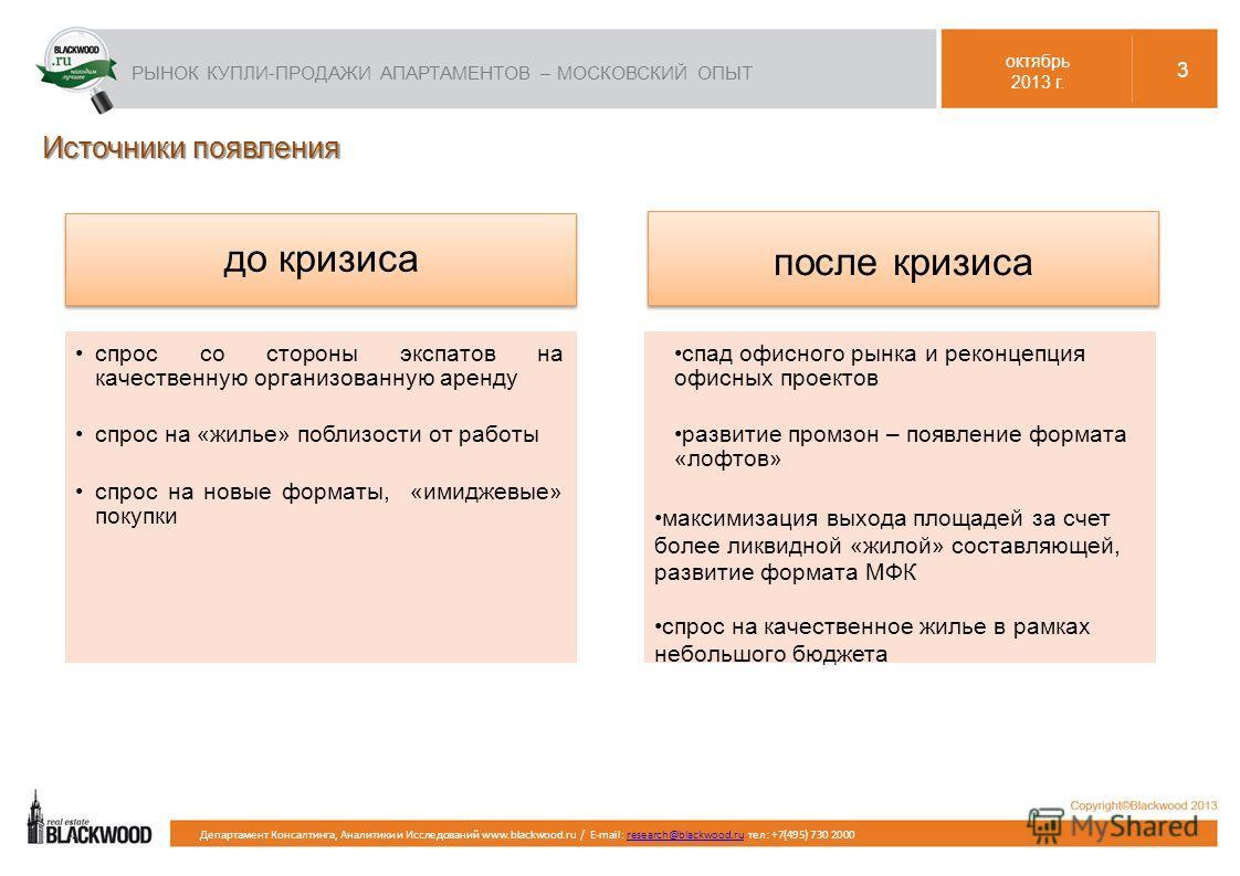 Департамент Консалтинга, Аналитики и Исследований www.blackwood.ru / E-mail: research@blackwood.ru тел: +7(495) 730 2000research@blackwood.ru Источники появления до кризиса спрос со стороны экспатов на качественную организованную аренду спрос на «жил