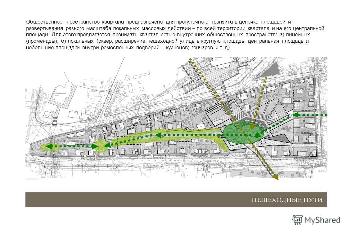 Общественное пространство квартала предназначено для прогулочного транзита в цепочке площадей и развертывания разного масштаба локальных массовых действий – по всей территории квартала и на его центральной площади. Для этого предлагается пронизать кв