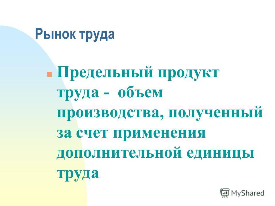 Рынок труда n Предельный продукт труда - объем производства, полученный за счет применения дополнительной единицы труда