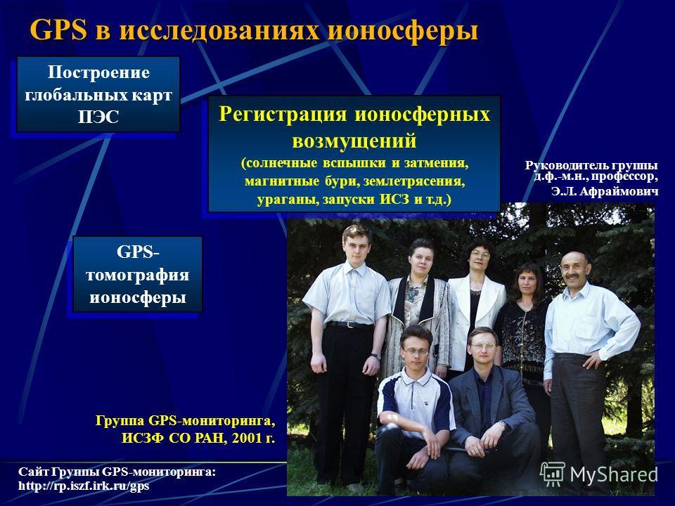 11 Группа GPS-мониторинга, ИСЗФ СО РАН, 2001 г. Сайт Группы GPS-мониторинга: http://rp.iszf.irk.ru/gps Руководитель группы д.ф.-м.н., профессор, Э.Л. Афраймович GPS в исследованиях ионосферы Регистрация ионосферных возмущений (солнечные вспышки и зат