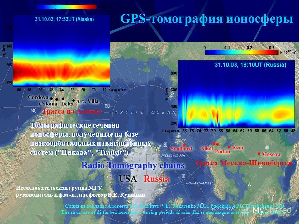 12 GPS-томография ионосферы Томографические сечения ионосферы, полученные на базе низкоорбитальных навигационных систем (