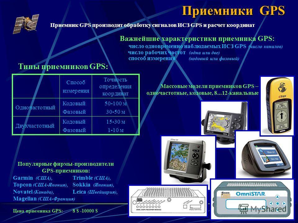 4 Типы приемников GPS: Приемники GPS Важнейшие характеристики приемника GPS: число одновременно наблюдаемых ИСЗ GPS (число каналов) число рабочих частот (одна или две) способ измерения (кодовый или фазовый) Способ измерения Точность определения коорд