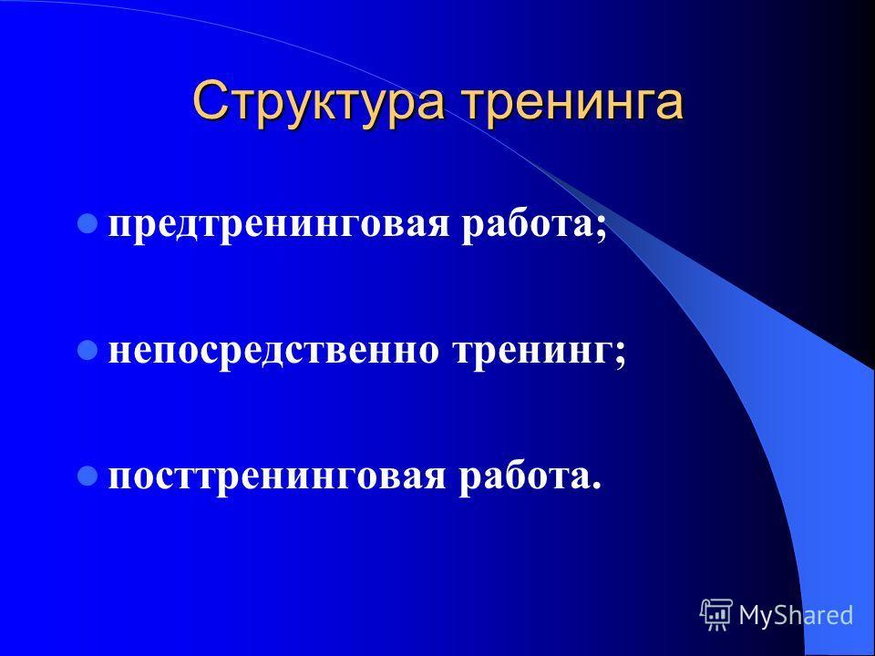 Структура тренинга предтренинговая работа; непосредственно тренинг; посттренинговая работа.