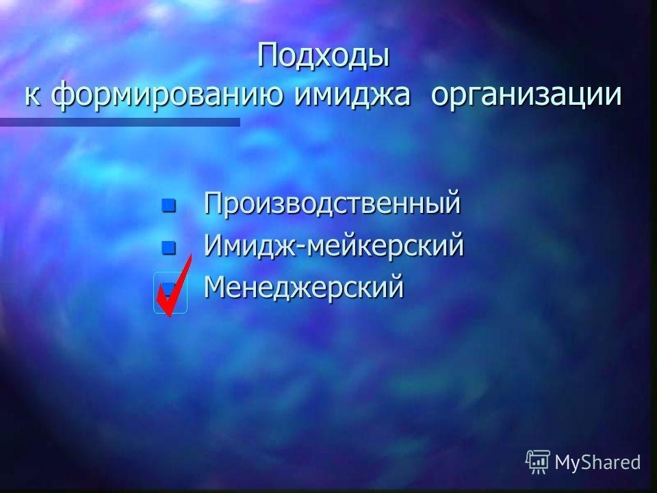 Подходы к формированию имиджа организации n Производственный n Имидж-мейкерский n Менеджерский