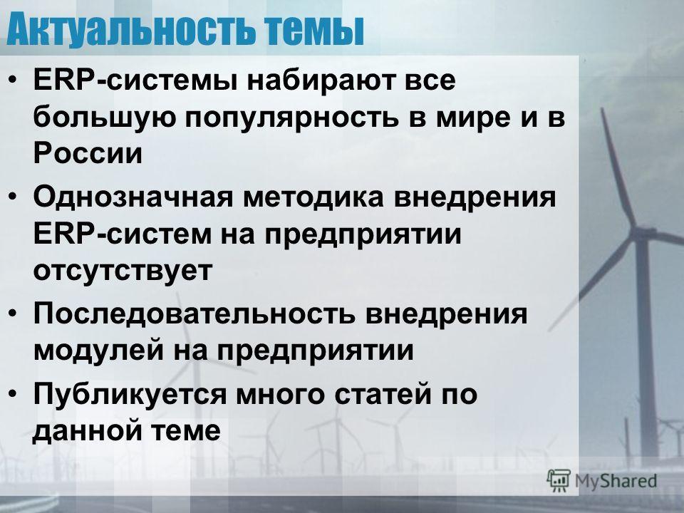 Актуальность темы ERP-системы набирают все большую популярность в мире и в России Однозначная методика внедрения ERP-систем на предприятии отсутствует Последовательность внедрения модулей на предприятии Публикуется много статей по данной теме