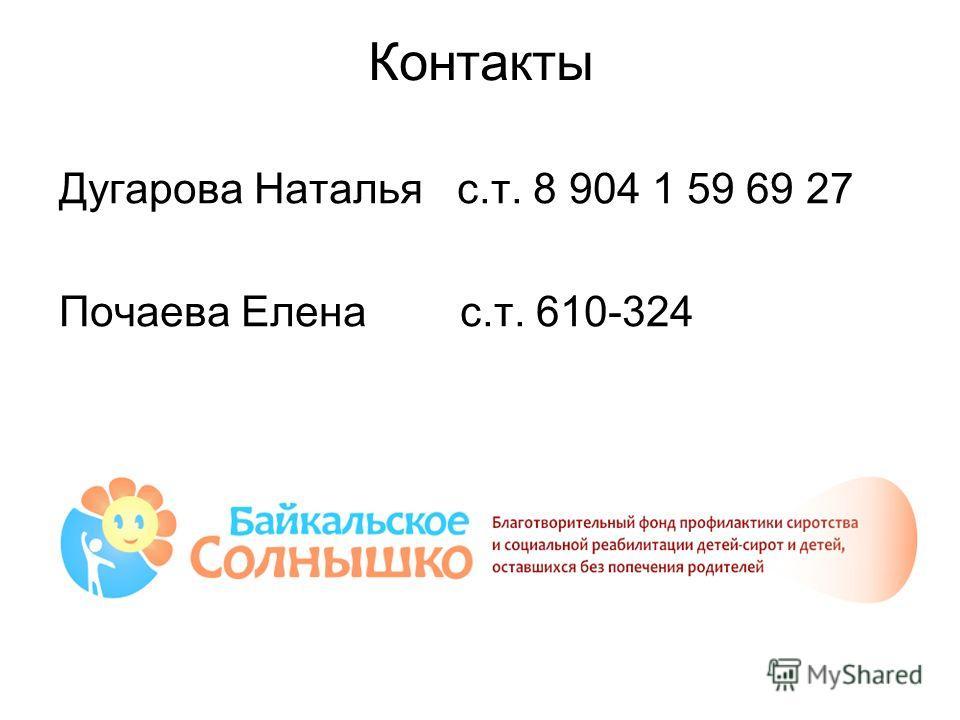 Контакты Дугарова Наталья с.т. 8 904 1 59 69 27 Почаева Елена с.т. 610-324