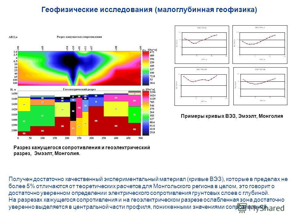 Геофизические исследования (малоглубинная геофизика) Примеры кривых ВЭЗ, Эмээлт, Монголия Разрез кажущегося сопротивления и геоэлектрический разрез, Эмээлт, Монголия. Получен достаточно качественный экспериментальный материал (кривые ВЭЗ), которые в