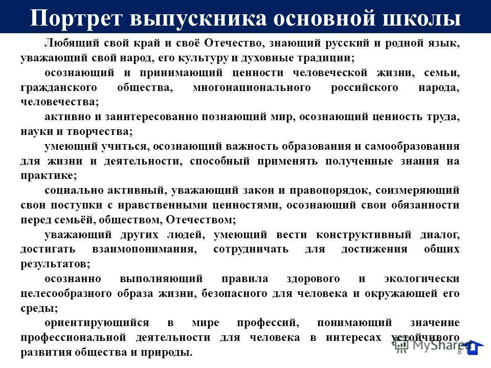 8 Любящий свой край и своё Отечество, знающий русский и родной язык, уважающий свой народ, его культуру и духовные традиции; осознающий и принимающий ценности человеческой жизни, семьи, гражданского общества, многонационального российского народа, че