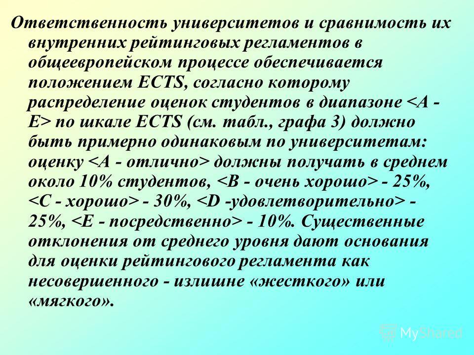 Ответственность университетов и сравнимость их внутренних рейтинговых регламентов в общеевропейском процессе обеспечивается положением ECTS, согласно которому распределение оценок студентов в диапазоне по шкале ECTS (см. табл., графа 3) должно быть п