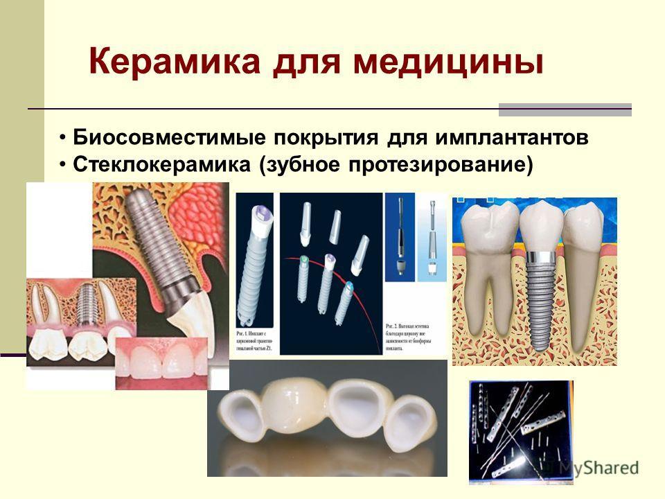 Биосовместимые покрытия для имплантантов Стеклокерамика (зубное протезирование) Керамика для медицины