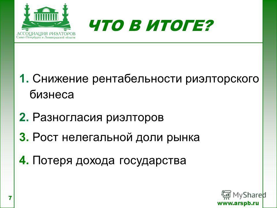 ЧТО В ИТОГЕ? www.arspb.ru 1. Снижение рентабельности риэлторского бизнеса 2. Разногласия риэлторов 3. Рост нелегальной доли рынка 4. Потеря дохода государства 7