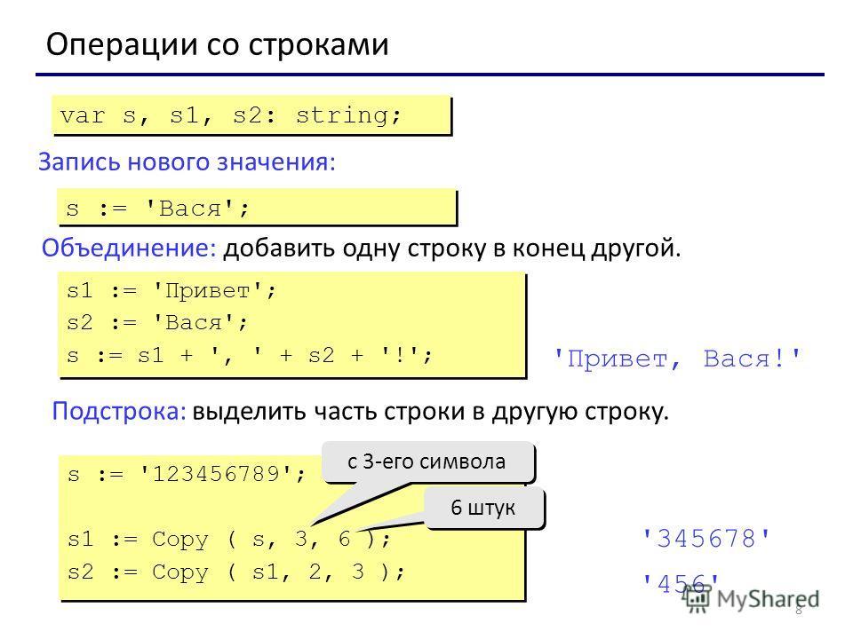 8 Операции со строками Объединение: добавить одну строку в конец другой. Запись нового значения: var s, s1, s2: string; s := 'Вася'; s1 := 'Привет'; s2 := 'Вася'; s := s1 + ', ' + s2 + '!'; s1 := 'Привет'; s2 := 'Вася'; s := s1 + ', ' + s2 + '!'; 'Пр