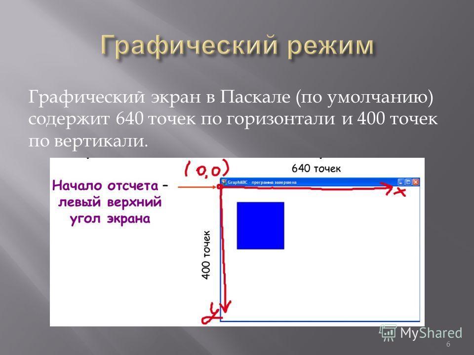 Графический экран в Паскале (по умолчанию) содержит 640 точек по горизонтали и 400 точек по вертикали. 6