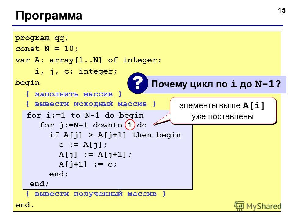 15 Программа program qq; const N = 10; var A: array[1..N] of integer; i, j, c: integer; begin { заполнить массив } { вывести исходный массив } { вывести полученный массив } end. for i:=1 to N-1 do begin for j:=N-1 downto i do if A[j] > A[j+1] then be