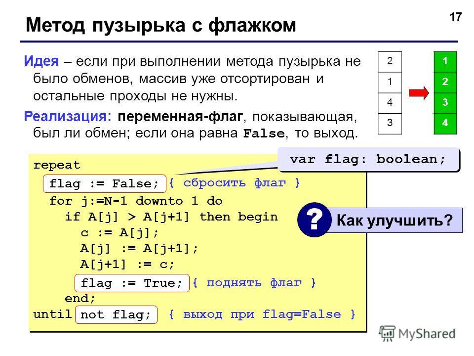 17 Метод пузырька с флажком Идея – если при выполнении метода пузырька не было обменов, массив уже отсортирован и остальные проходы не нужны. Реализация: переменная-флаг, показывающая, был ли обмен; если она равна False, то выход. repeat flag := Fals