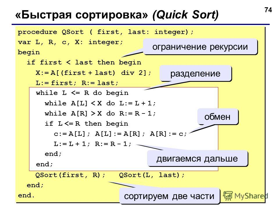 74 «Быстрая сортировка» (Quick Sort) procedure QSort ( first, last: integer); var L, R, c, X: integer; begin if first < last then begin X:= A[(first + last) div 2]; L:= first; R:= last; QSort(first, R); QSort(L, last); end; end. procedure QSort ( fir