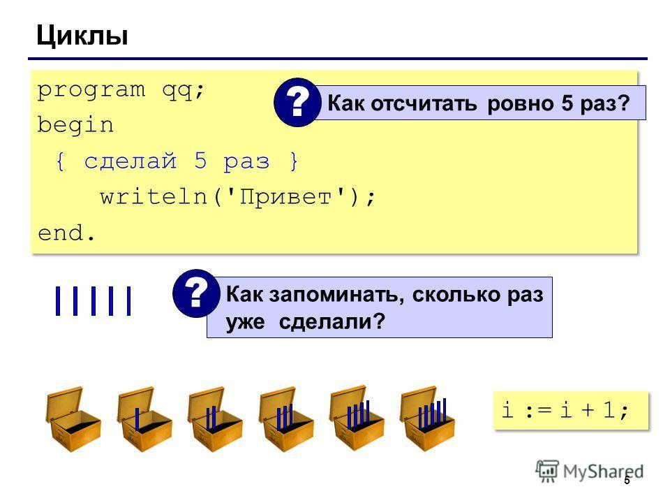 5 Циклы program qq; begin { сделай 5 раз } writeln('Привет'); end. program qq; begin { сделай 5 раз } writeln('Привет'); end. Как отсчитать ровно 5 раз? ? Как запоминать, сколько раз уже сделали? ? i := i + 1;