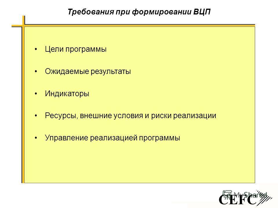 CEFC Требования при формировании ВЦП Цели программы Ожидаемые результаты Индикаторы Ресурсы, внешние условия и риски реализации Управление реализацией программы