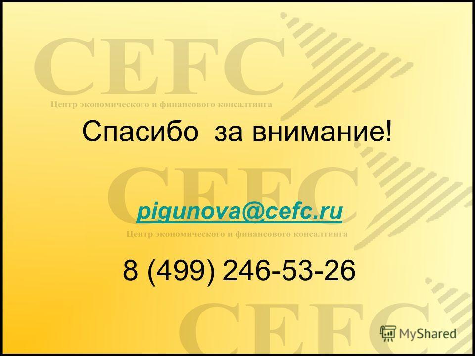 Спасибо за внимание! pigunova@cefc.ru 8 (499) 246-53-26
