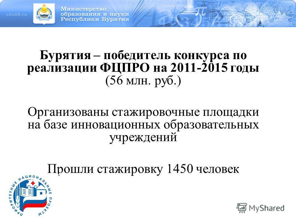 Бурятия – победитель конкурса по реализации ФЦПРО на 2011-2015 годы (56 млн. руб.) Организованы стажировочные площадки на базе инновационных образовательных учреждений Прошли стажировку 1450 человек