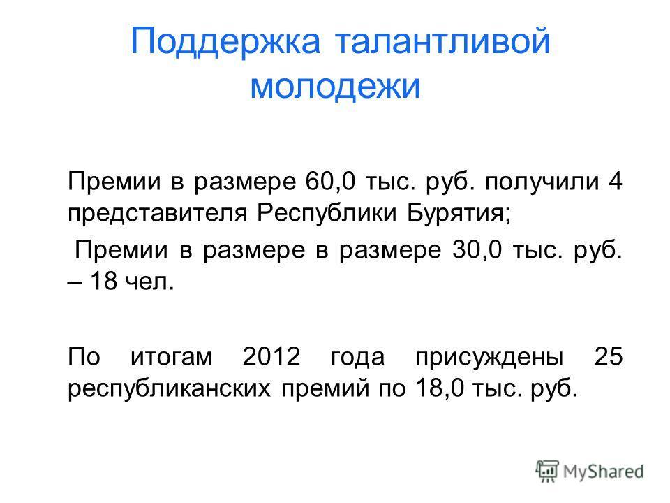 Премии в размере 60,0 тыс. руб. получили 4 представителя Республики Бурятия; Премии в размере в размере 30,0 тыс. руб. – 18 чел. По итогам 2012 года присуждены 25 республиканских премий по 18,0 тыс. руб. Поддержка талантливой молодежи