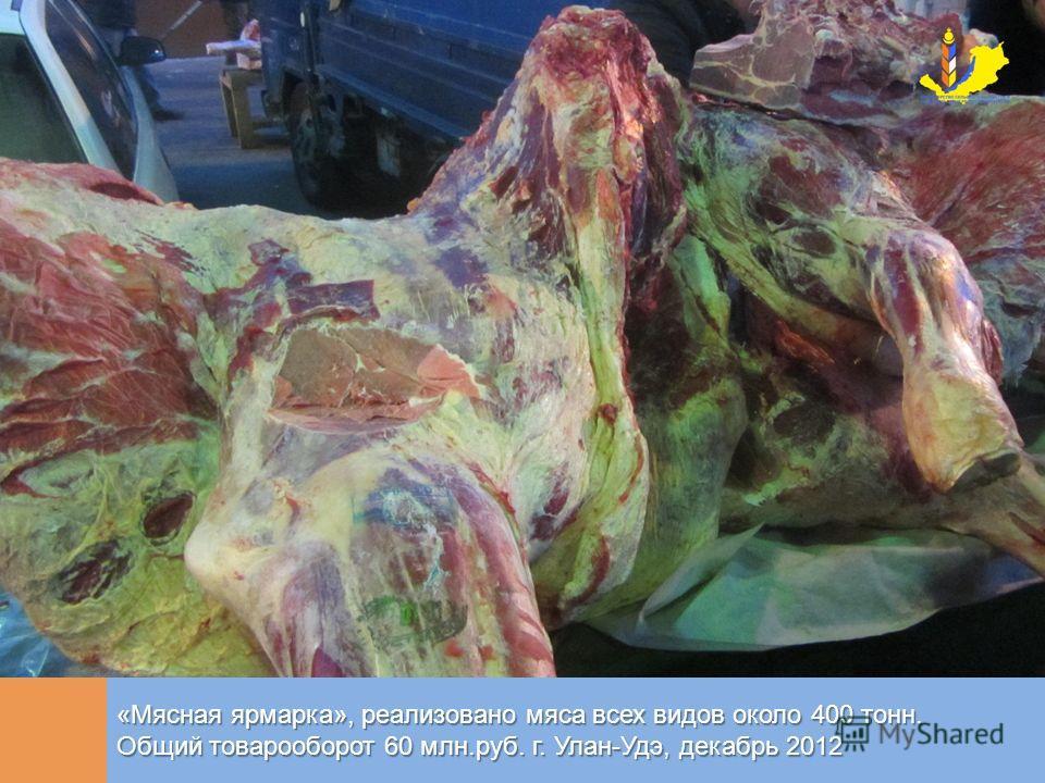 «Мясная ярмарка», реализовано мяса всех видов около 400 тонн. Общий товарооборот 60 млн.руб. г. Улан-Удэ, декабрь 2012