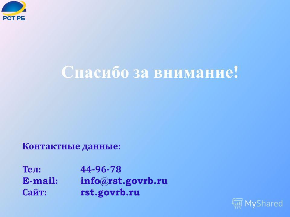 Спасибо за внимание! Контактные данные : Тел :44-96-78 E-mail: info@rst.govrb.ru Сайт : rst.govrb.ru