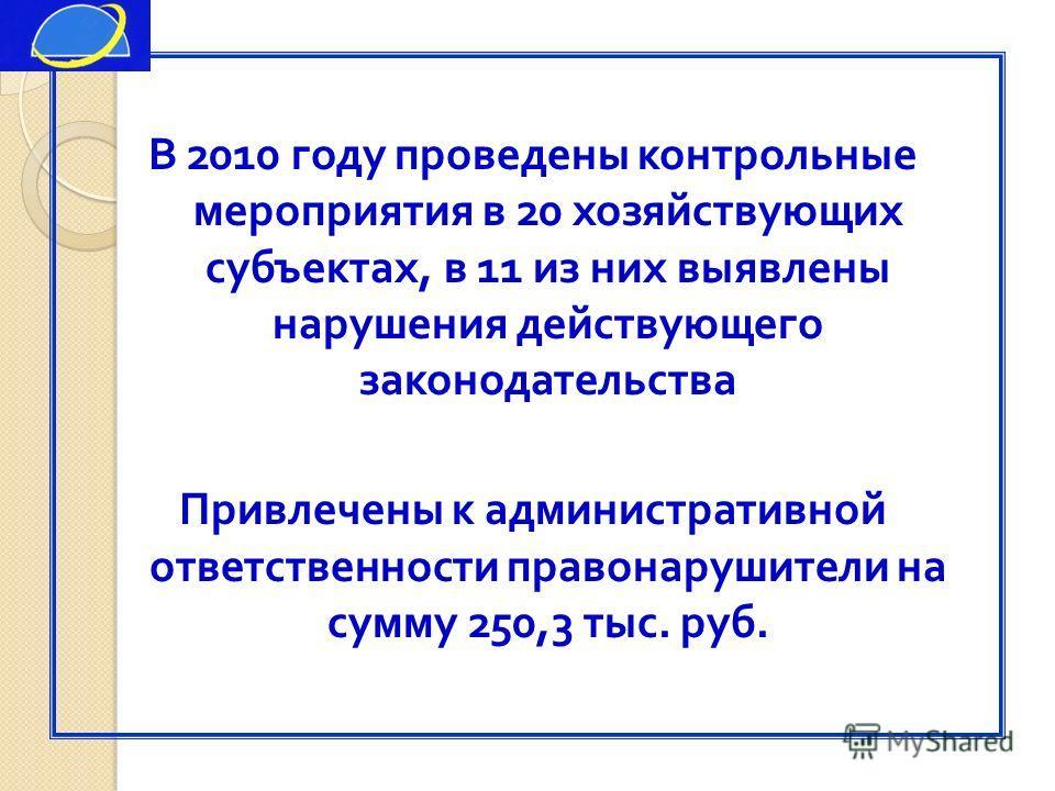В 2010 году проведены контрольные мероприятия в 20 хозяйствующих субъектах, в 11 из них выявлены нарушения действующего законодательства Привлечены к административной ответственности правонарушители на сумму 250,3 тыс. руб.