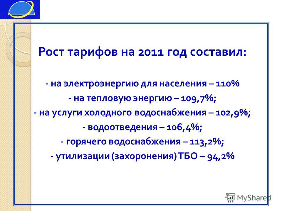 Рост тарифов на 2011 год составил : - на электроэнергию для населения – 110% - на тепловую энергию – 109,7%; - на услуги холодного водоснабжения – 102,9%; - водоотведения – 106,4%; - горячего водоснабжения – 113,2%; - утилизации ( захоронения ) ТБО –