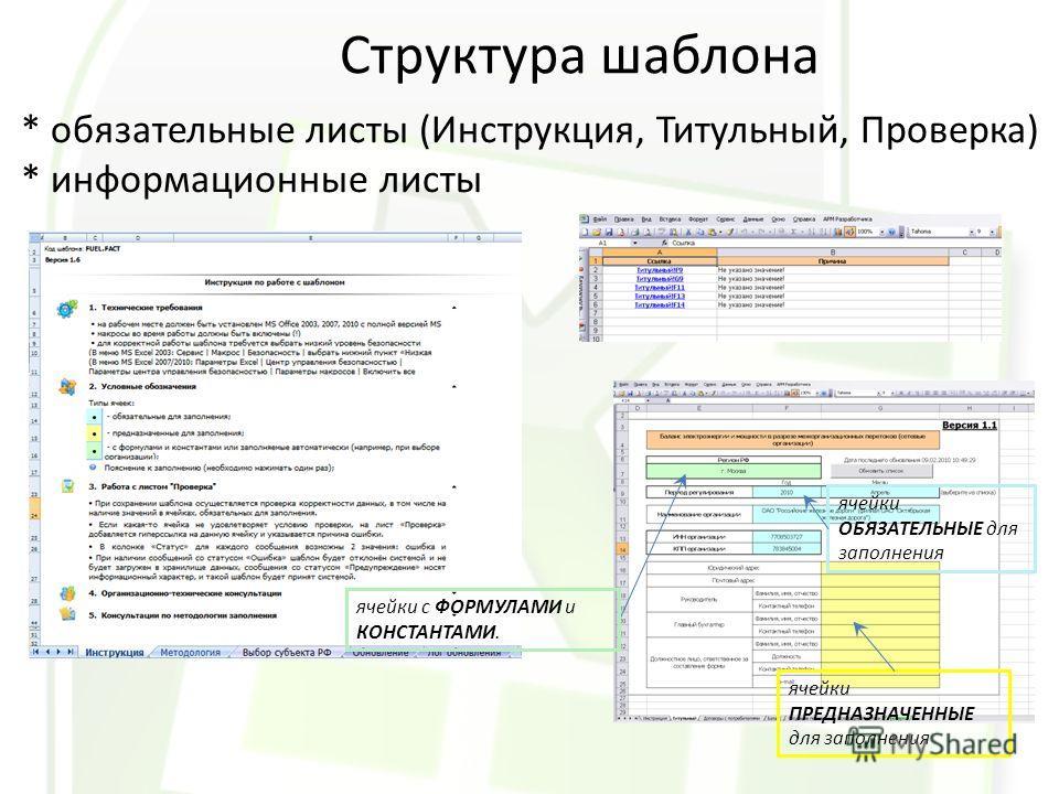 Структура шаблона * обязательные листы (Инструкция, Титульный, Проверка) * информационные листы ячейки ОБЯЗАТЕЛЬНЫЕ для заполнения ячейки ПРЕДНАЗНАЧЕННЫЕ для заполнения ячейки с ФОРМУЛАМИ и КОНСТАНТАМИ.