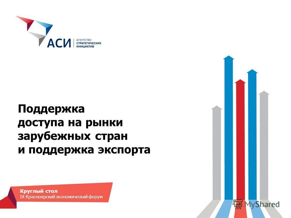 Поддержка доступа на рынки зарубежных стран и поддержка экспорта Круглый стол IX Красноярский экономический форум
