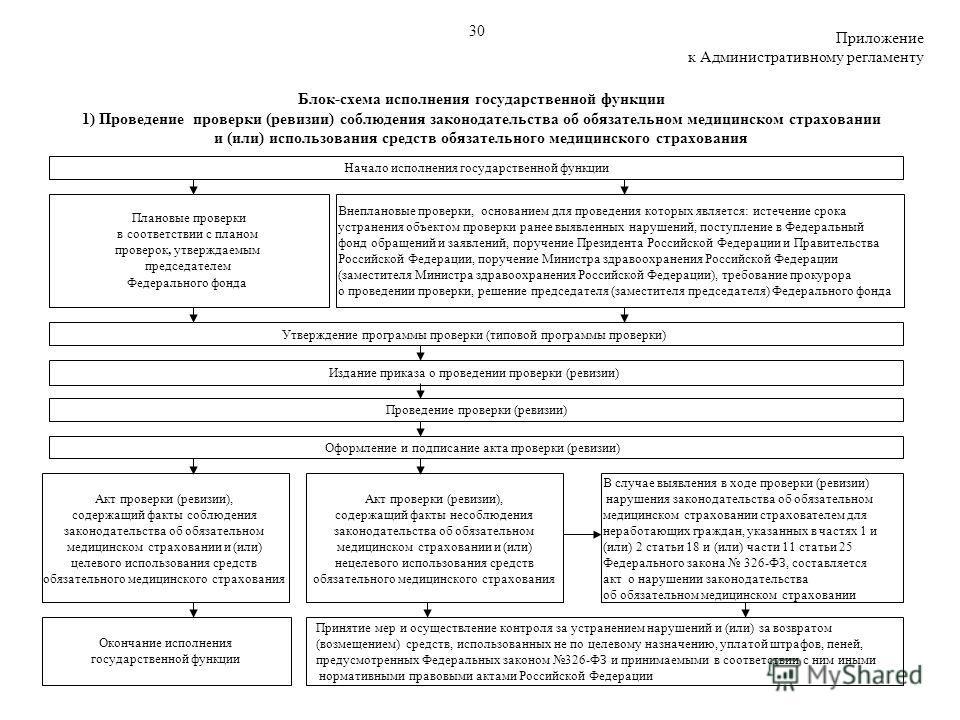 Блок-схема исполнения государственной функции 1) Проведение проверки (ревизии) соблюдения законодательства об обязательном медицинском страховании и (или) использования средств обязательного медицинского страхования Плановые проверки в соответствии с