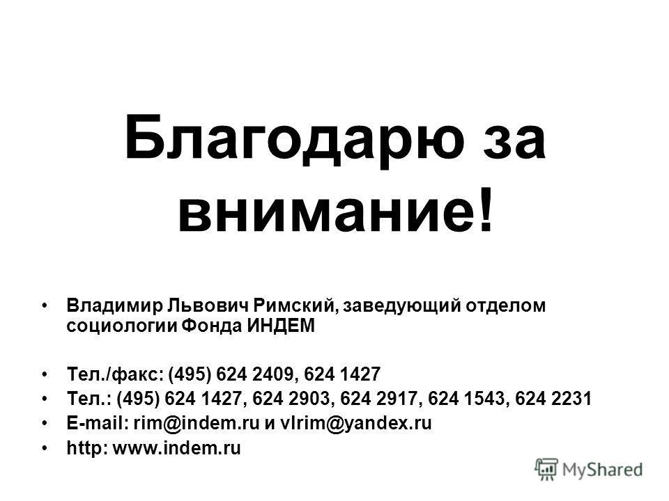 Благодарю за внимание! Владимир Львович Римский, заведующий отделом социологии Фонда ИНДЕМ Тел./факс: (495) 624 2409, 624 1427 Тел.: (495) 624 1427, 624 2903, 624 2917, 624 1543, 624 2231 E-mail: rim@indem.ru и vlrim@yandex.ru http: www.indem.ru