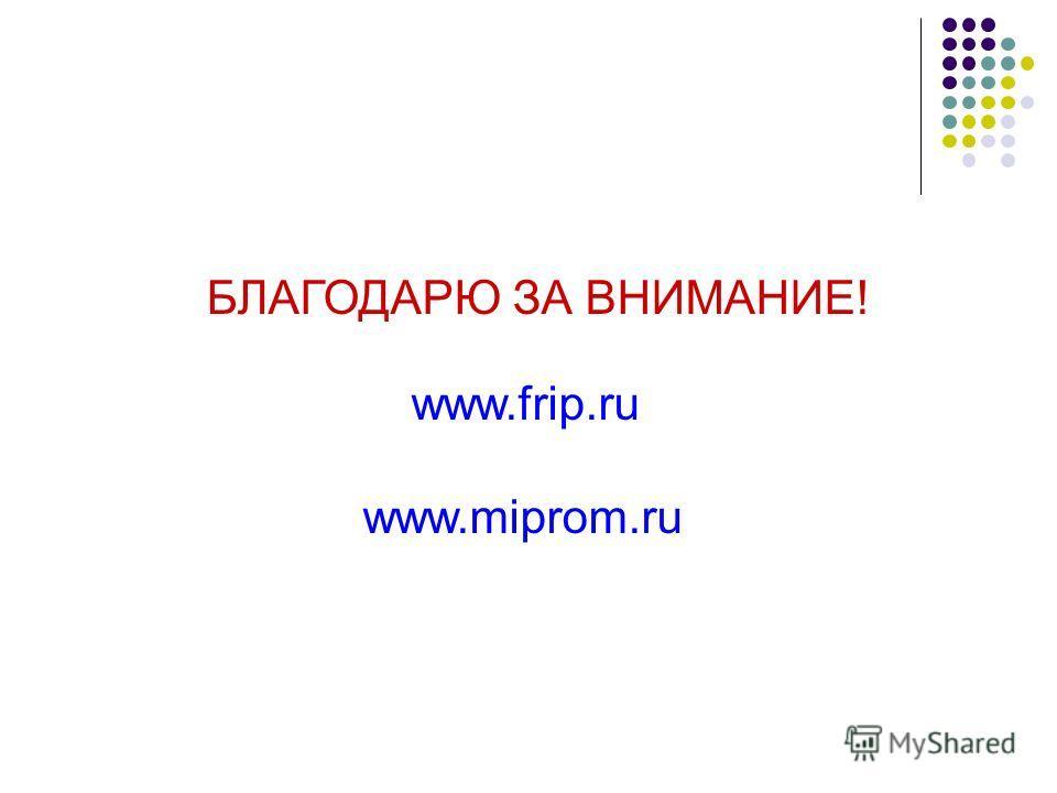 БЛАГОДАРЮ ЗА ВНИМАНИЕ! www.frip.ru www.miprom.ru