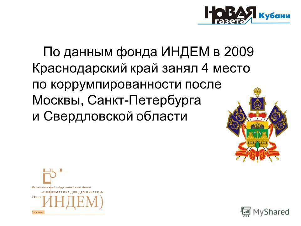 По данным фонда ИНДЕМ в 2009 Краснодарский край занял 4 место по коррумпированности после Москвы, Санкт-Петербурга и Свердловской области