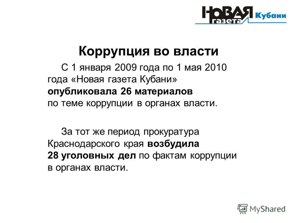 Коррупция во власти С 1 января 2009 года по 1 мая 2010 года «Новая газета Кубани» опубликовала 26 материалов по теме коррупции в органах власти. За тот же период прокуратура Краснодарского края возбудила 28 уголовных дел по фактам коррупции в органах