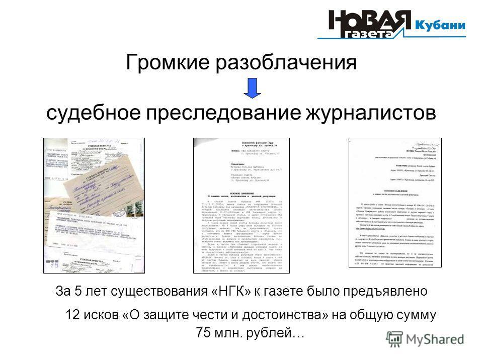 Громкие разоблачения судебное преследование журналистов За 5 лет существования «НГК» к газете было предъявлено 12 исков «О защите чести и достоинства» на общую сумму 75 млн. рублей…