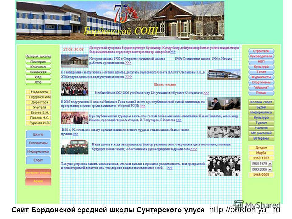 Сайт Бордонской средней школы Сунтарского улуса http://bordon.ya1.ru