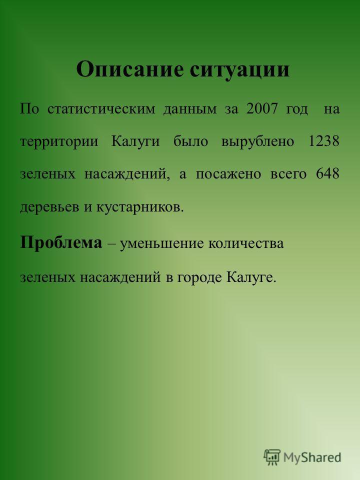 Описание ситуации По статистическим данным за 2007 год на территории Калуги было вырублено 1238 зеленых насаждений, а посажено всего 648 деревьев и кустарников. Проблема – уменьшение количества зеленых насаждений в городе Калуге.